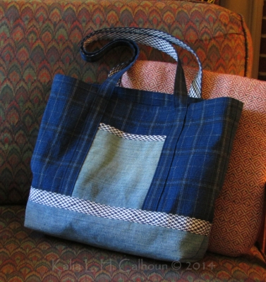 blue plaid and denim tote